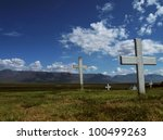 Peaceful cemetery - stock photo