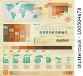 Detail infographic vector illustration with. Map of world, industrial infographics and Information Graphics. Easy to edit countries - stock vector