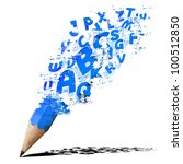 creative splash pencil with blue alphabet isolate on white. - stock photo