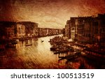 Textured image of Grand Canal in Venice - Italy - stock photo