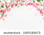 floral frame made of pink roses ... | Shutterstock . vector #1005183673