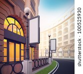 A 3d illustration of retail street with blank template billboards. - stock photo