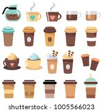 set of cups and glasses with... | Shutterstock .eps vector #1005566023