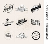 Set of Vintage Retro Styled Quality Labels - stock vector
