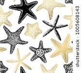 sea stars seamless vector print.... | Shutterstock .eps vector #1005608143