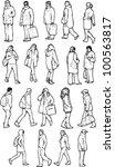 walking people  side and semi... | Shutterstock .eps vector #100563817