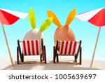 easter eggs with rabbit ears in ... | Shutterstock . vector #1005639697