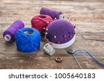 sewing accessories on wooden... | Shutterstock . vector #1005640183