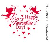 greetings with valentine's day... | Shutterstock .eps vector #1005642163
