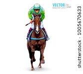 jockey on horse. champion.... | Shutterstock .eps vector #1005670633