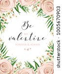 floral card design with pink ... | Shutterstock .eps vector #1005670903