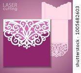 laser cut wedding invitation... | Shutterstock .eps vector #1005682603