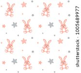 seamless baby pattern with... | Shutterstock .eps vector #1005689977