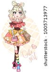 cute fashion girl  anime style... | Shutterstock .eps vector #1005713977