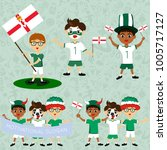 set of boys with national flags ... | Shutterstock .eps vector #1005717127
