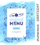 hand drawn seafood menu with... | Shutterstock .eps vector #1005723247