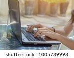 businesss woman using laptop on ...   Shutterstock . vector #1005739993