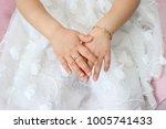 cute baby girls hands with...   Shutterstock . vector #1005741433