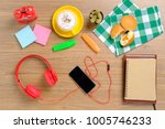wooden table with notebook...   Shutterstock . vector #1005746233