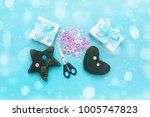 soft handmade toys. materials...   Shutterstock . vector #1005747823