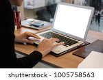 side view woman hands using...   Shutterstock . vector #1005758563