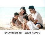 happy asian family playing on...   Shutterstock . vector #100576993