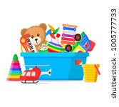 kids toys in a box. storage... | Shutterstock .eps vector #1005777733