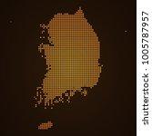 pixel mosaic glow orange dot... | Shutterstock .eps vector #1005787957