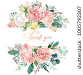 watercolor floral illustration  ... | Shutterstock . vector #1005792307