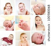 Collage of different photos of babies and kids - stock photo