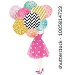 girl holding a balloon | Shutterstock . vector #1005814723
