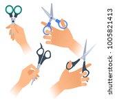 human hands with various steel... | Shutterstock .eps vector #1005821413