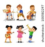 children playing instruments   Shutterstock .eps vector #100582297