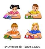 schoolchildren  sitting at...   Shutterstock .eps vector #100582303