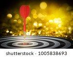 target dart with arrow over... | Shutterstock . vector #1005838693