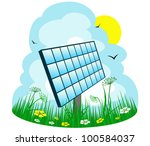 solar panel on the meadow | Shutterstock . vector #100584037