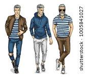 vector young man models | Shutterstock .eps vector #1005841027