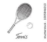 tennis racket and ball  hand... | Shutterstock .eps vector #1005846013