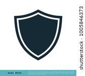 shield secure icon vector logo... | Shutterstock .eps vector #1005846373