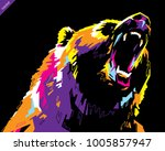 pop art portrait of agressive... | Shutterstock .eps vector #1005857947