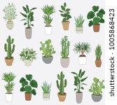 set of house indoor plant... | Shutterstock . vector #1005868423