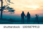 Stock photo photographer lover women and men asians travel relax in the holiday photograph mountain landscapes 1005879913