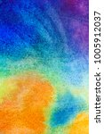 Small photo of Hand drawn abstract watercolor background, original waldorf wet painting. Lesson for beginners, artist, student, pupil. First step at school, college. Colorful template, copy space