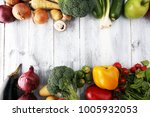 composition with variety of raw ... | Shutterstock . vector #1005932053