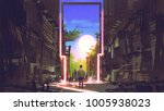 young boy standing in abandoned ... | Shutterstock . vector #1005938023