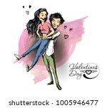 romantic lovers for valentine's ... | Shutterstock .eps vector #1005946477