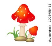 Cartoon Red Mushrooms With...