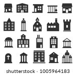 buildings  icons set on white... | Shutterstock . vector #1005964183