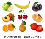 icons set fruits and berries.... | Shutterstock .eps vector #1005967453