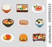 nine different foods and vector ... | Shutterstock .eps vector #1005981013